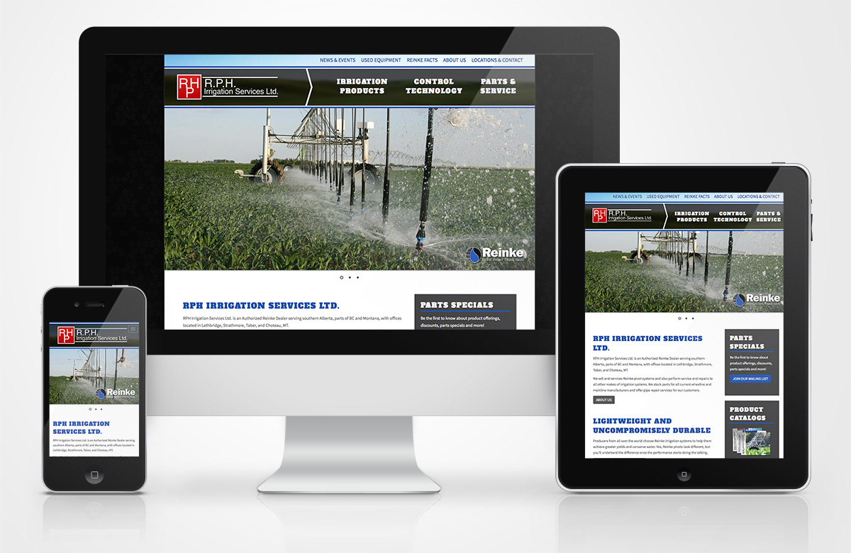 RPH Irrigation Services website on different devices sizes